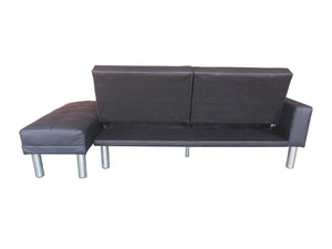 210cm 3 Seater Sofa Bed w Ottoman Recliner Couch Futon Black PU Leather Home Furniture