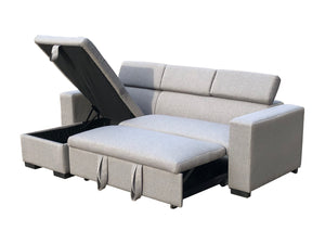 Linen Fabric 3 Seater Pullout Sofa Bed Modular with Storage Chaise Futon Corner