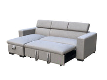 Load image into Gallery viewer, Linen Fabric 3 Seater Pullout Sofa Bed Modular with Storage Chaise Futon Corner