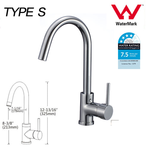 Kitchen Bathroom Laundry Shower Water Basin Mixer Tap Vanity Sink Faucet WELS-Type S