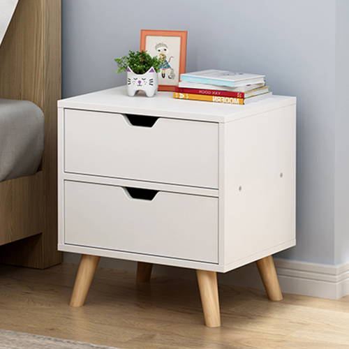 Bedside Table 2 Drawers with Short Legs Tables Nightstand Unit Cabinet Storage Lamp Side Table (White)