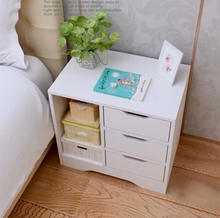 Load image into Gallery viewer, Bedside Table 3 Drawers with Compartment Tables Nightstand Unit Cabinet Storage Lamp Side Table (White & Maple)