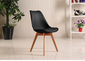 2/4/6/8 Padded Retro Replica Eiffel DSW Dining Chairs Cafe Kitchen Beech Black/White