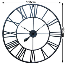 Load image into Gallery viewer, 100cm Round Wall Clock Metal Industrial Iron Vintage French Provincial Antique