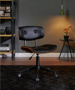 Black Office Chair PU Leather Computer Gaming Executive Racer Chairs Gas Lift Seat
