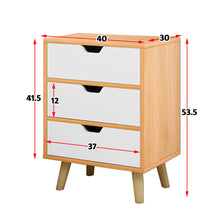 Load image into Gallery viewer, Bedside Table 3 Drawers with Legs Tables Nightstand Unit Cabinet Storage Lamp Side Table (Maple)