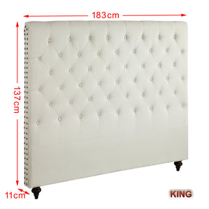 King Size Cream Color Fabric Bed Head Upholstered Headboard Bedhead Frame