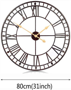 80cm Wall Clock European Creative Iron Round Non-fading Living Room Silense