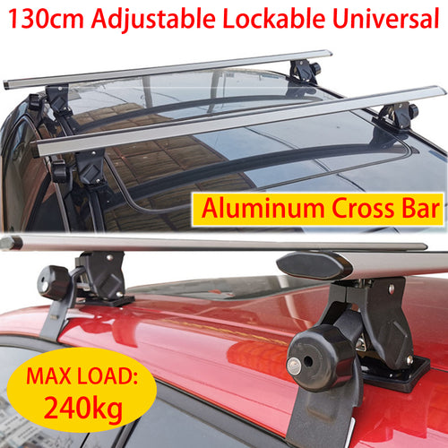 Cross Bar 130cm Silver Universal Lockable Aluminium Car Roof Rack Adjustable  Alloy Sedan Ute Luggage Carrier
