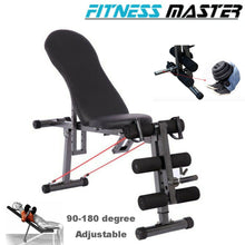 Load image into Gallery viewer, Sit Up Abdominal Crunch Adjustable Flat Incline Bench Fitness GYM Home lifting Angle Black