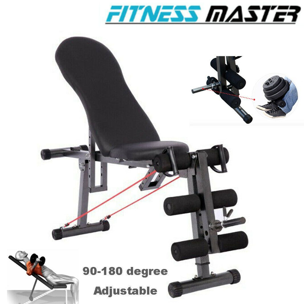 Sit Up Abdominal Crunch Adjustable Flat Incline Bench Fitness GYM Home lifting Angle Black
