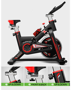Black Color Exercise Spin Bike Home Gym Workout Equipment Cycling Fitness Bicycle 8kg Wheels