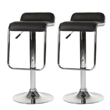 Load image into Gallery viewer, 2x Black Kitchen Bar Stools Gas Lift Stool Chairs Swivel PU Leather Barstools