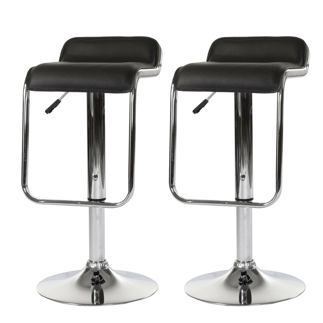 2x Black Kitchen Bar Stools Gas Lift Stool Chairs Swivel PU Leather Barstools