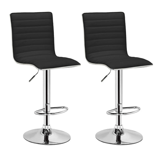 2x Black Kitchen Bar Stools Gas Lift Stool Swivel Chairs PU Leather Barstools