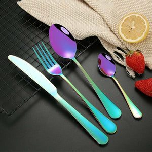 60 pcs Stainless Steel Cutlery Set Rainbow Knife Fork Spoon Stylish Teaspoon Kitchen