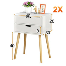 Load image into Gallery viewer, Bedside Table 2 Drawers with Legs Tables Nightstand Unit Cabinet Storage Lamp Side Table (White)