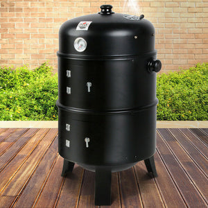 3in1 Portable Charcoal BBQ Vertical Smoker Roaster Grill Steel Water Steamer