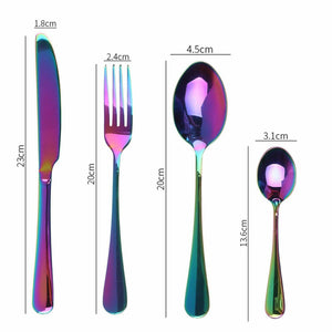 24 pcs Stainless Steel Cutlery Set Rainbow Knife Fork Spoon Stylish Teaspoon Kitchen