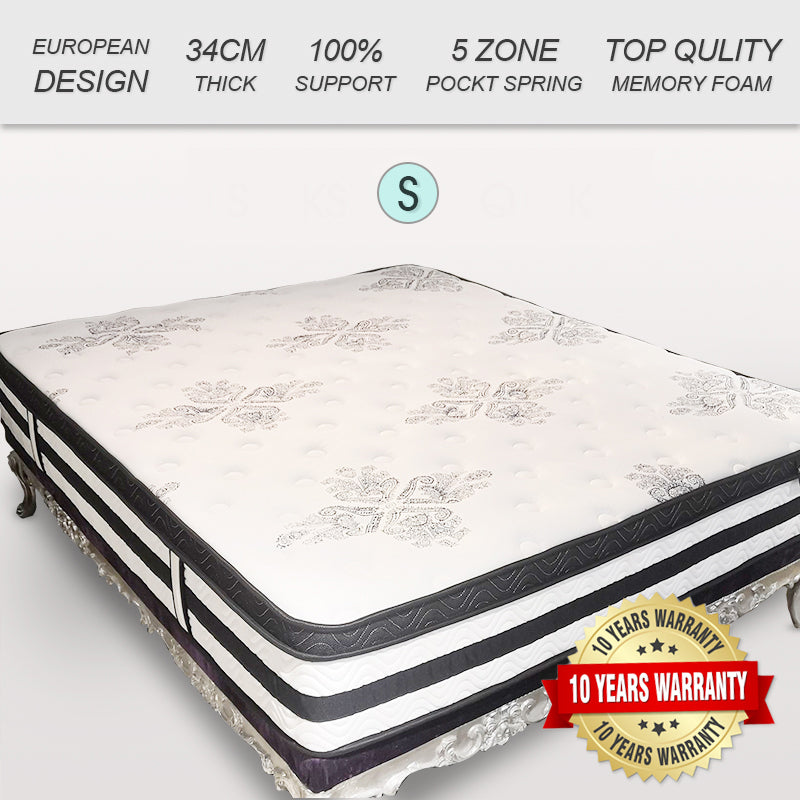 34CM Euro Top Pocket Spring Medium Firm Foam Mattress KING QUEEN DOUBLE SINGLE