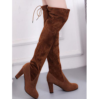 Chic Faux Suede Slim Over the Knee Boots - Daryljr store