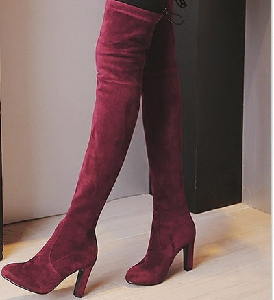 Chic Faux Suede Slim Over the Knee Boots