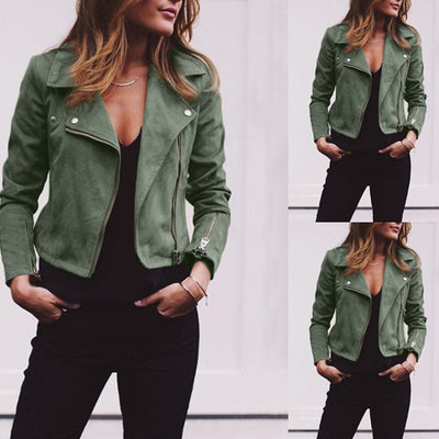 Female Faux Leather Biker Jacket