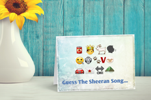 Load image into Gallery viewer, Emoji Game Greetings Card, Guess The Ed Sheeran Song.