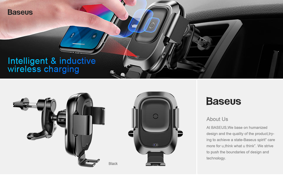 Baseus Car Phone Holder for iPhone Intelligent Infrared Sensor Qi Car Wireless Charger Air Vent Mount