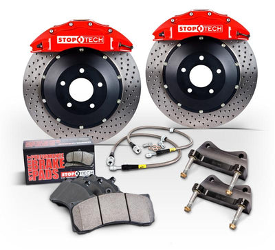 StopTech 08-10 Audi S5 Front BBK w/ Red ST-60 Calipers Slotted Zinc Coated 380x32mm Rotors Pads - 83.114.6800.73