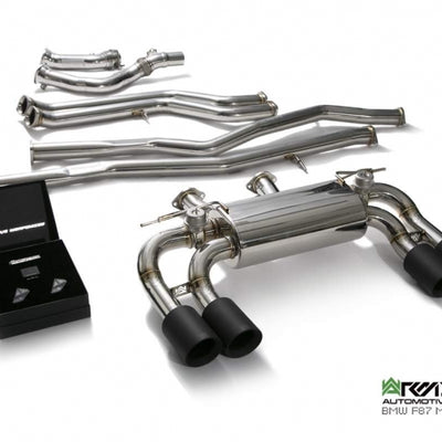 ARMYTRIX Stainless Steel Valvtronic Quad Exhaust (Matte Black Tips) - F87 M2 / M2 Competition