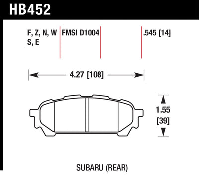Hawk 03-05 WRX D1004 Performance Ceramic Street Rear Brake Pads - HB452Z.545
