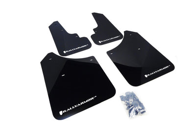 Rally Armor 2003-2008 Subaru Forester UR Black Mud Flap w/ White Logo