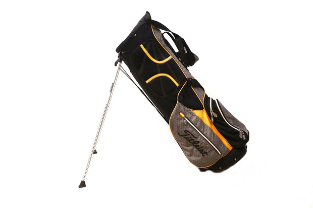 Titleist Stand Golf Bag 6-Way Divider Men's Yellow, Black 5 Pockets Dual Straps