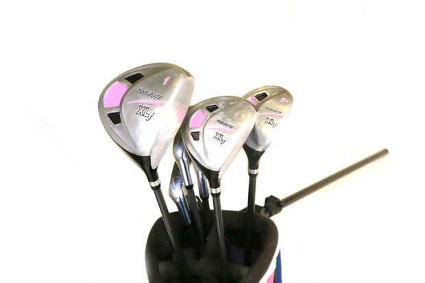 Top Flite XLj Driver, 5 Wood, 5 Hybrid, 7-8, SW Iron Full Kids Golf Set RH JR