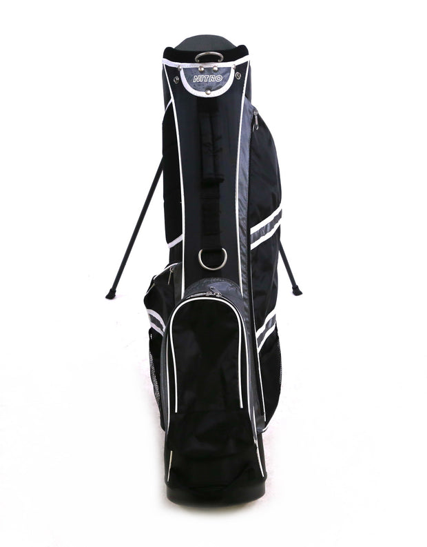 Nitro Stand Golf Bag 6 Way Divider Black/Silver Rain Hood Included