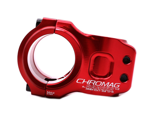 Chromag Ranger V2 Mountain Bike Stem 31.8 Clamp 31mm Length Red 0 Rise NEW