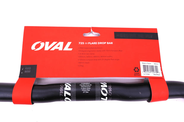 Oval Concepts 725 Flared Road Bike Drop Handlebar 31.8 mm Clamp 460 mm Width NEW