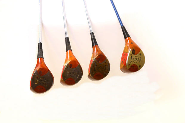 Vintage Tommy Armour Oil Hardened Persimmon PGA Driver, 3-5 Wood Golf Set RH