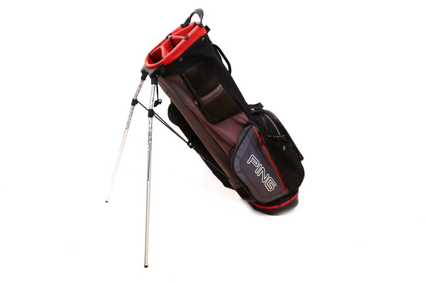 Ping Hoofer Stand Golf Bag 5-Way Divider Mens Black and Red 10 Pocket Dual Strap