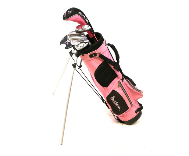 Tour Edge Bazooka Driver, 6 Hybrid, 8-9, SW Irons Putter Full Golf Set Kids Pink