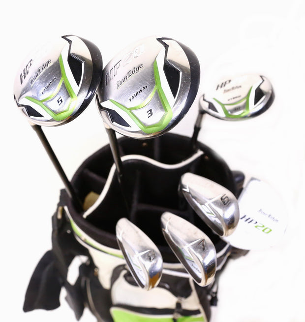 Tour Edge HP20 3,5 Woods 4 Hybrid, 6-8 Irons, Putter Full Golf Set With Bag LH
