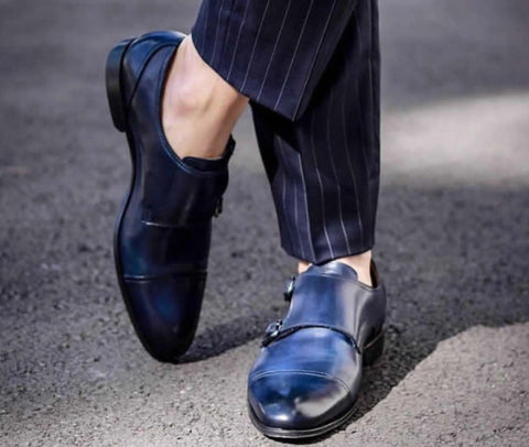Blue monks with navy blue pinstrip suit.