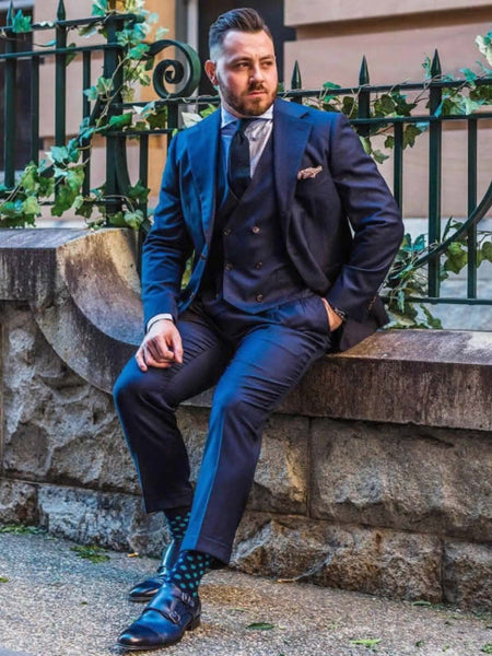 Thomas Bird blue monks with dark blue suit