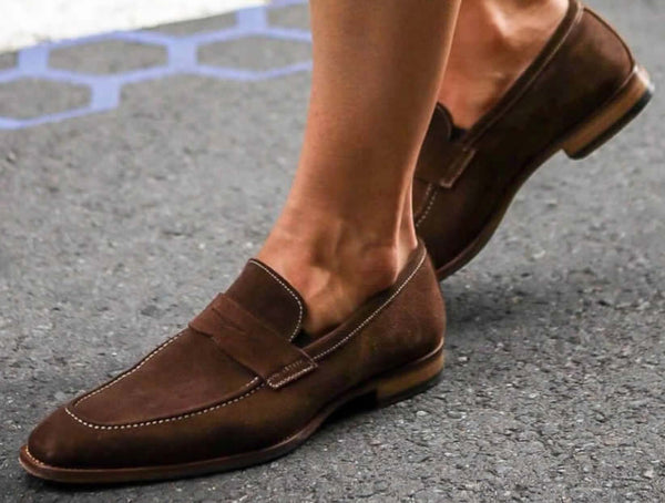 Brown suede penny loafers sockless