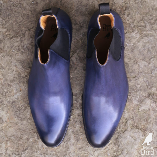 Blue chelsea boots