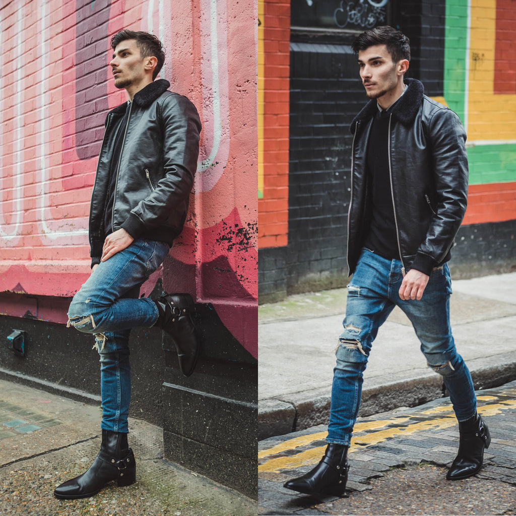 Black harness boots in the street