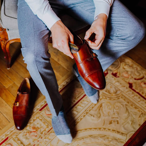 Wedding shoes - tan monk strap