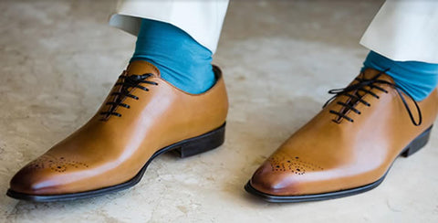 Wedding shoes - light brown wholecut oxfords