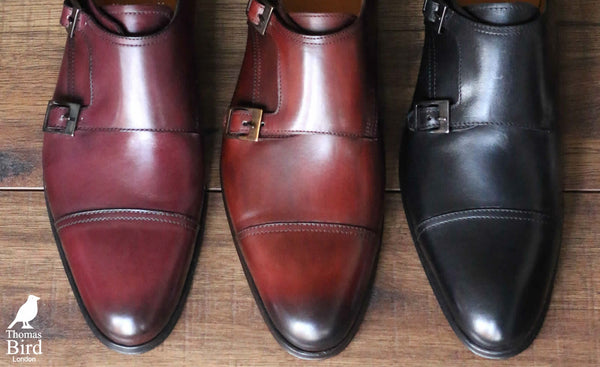 Different colours and options of monk strap
